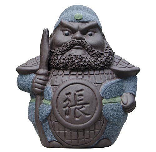 Hoobar Handmade Zisha Tea Pet Ceramic 5 Heros Design Style of the Romance of the Three Kingdoms, Decoration for Kungfu Teaset and Tea Tray A Great Gift (Zhang fei)
