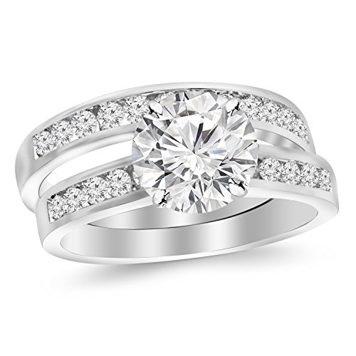 2.7 Carat Classic Channel Set Wedding Set Bridal Band & Diamond Engagement Ring With A 2 Carat Moissanite Center