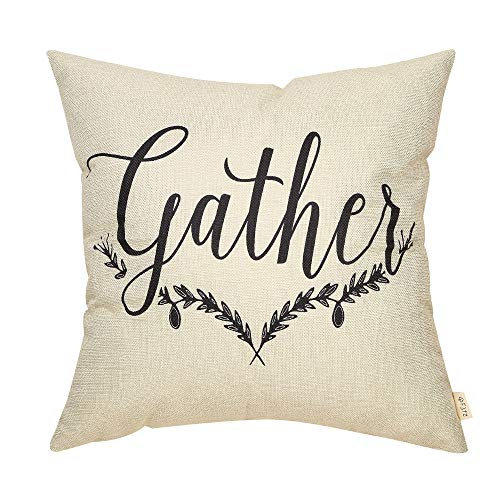 """Fjfz Spring Summer Farmhouse Decor Gather Rustic Olive Branch Seasonal Sign Country Decoration Cotton Linen Home Decorative Throw Pillow Case Cushion Cover with Words for Sofa Couch, 18"""" x18"""""""