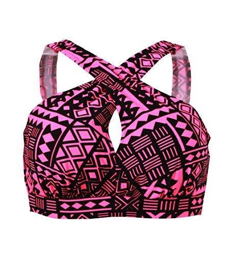 Bra Swimsuit Top (Tribal Floral Front Cross Sexy Bikini Top Summer Sport Bra-TX005-RDTR3)