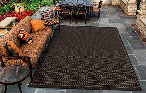 Couristan Black Saddle Stitch - Couristan 1001/2000 Recife Saddle Stitch/Black-Cocoa 5-Feet 3-Inch by 7-Feet 6-Inch Rug
