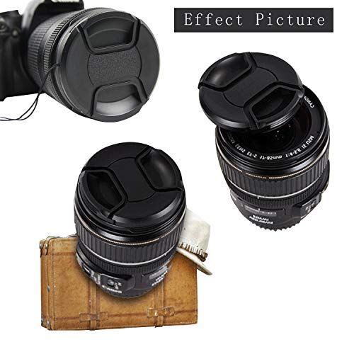 2 Pcs 67mm Lens Cap -2 Pcs Lens Cap Keeper Holder and Lens Cleaning Pen Compatible Canon, Nikon, Sony and Other Brand of Lenses + Microfiber Cleaning Cloth