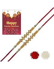 SHOPOGENIE Exclusive American Diamond With Yellow Beads Rakhi For Brother / Bhai / Bro / Bhabhi / Kids   Designer Thread Rakhi  With Free Roli Chawal & Greeting Card   Set of 2   R009X2