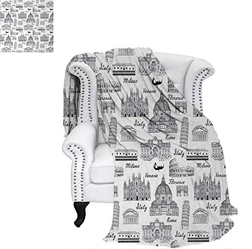 - Custom Design Cozy Flannel Blanket Monochrome Sketch Style Famous Places from Italy Rome Milano European Architecture Weave Pattern Blanket 60