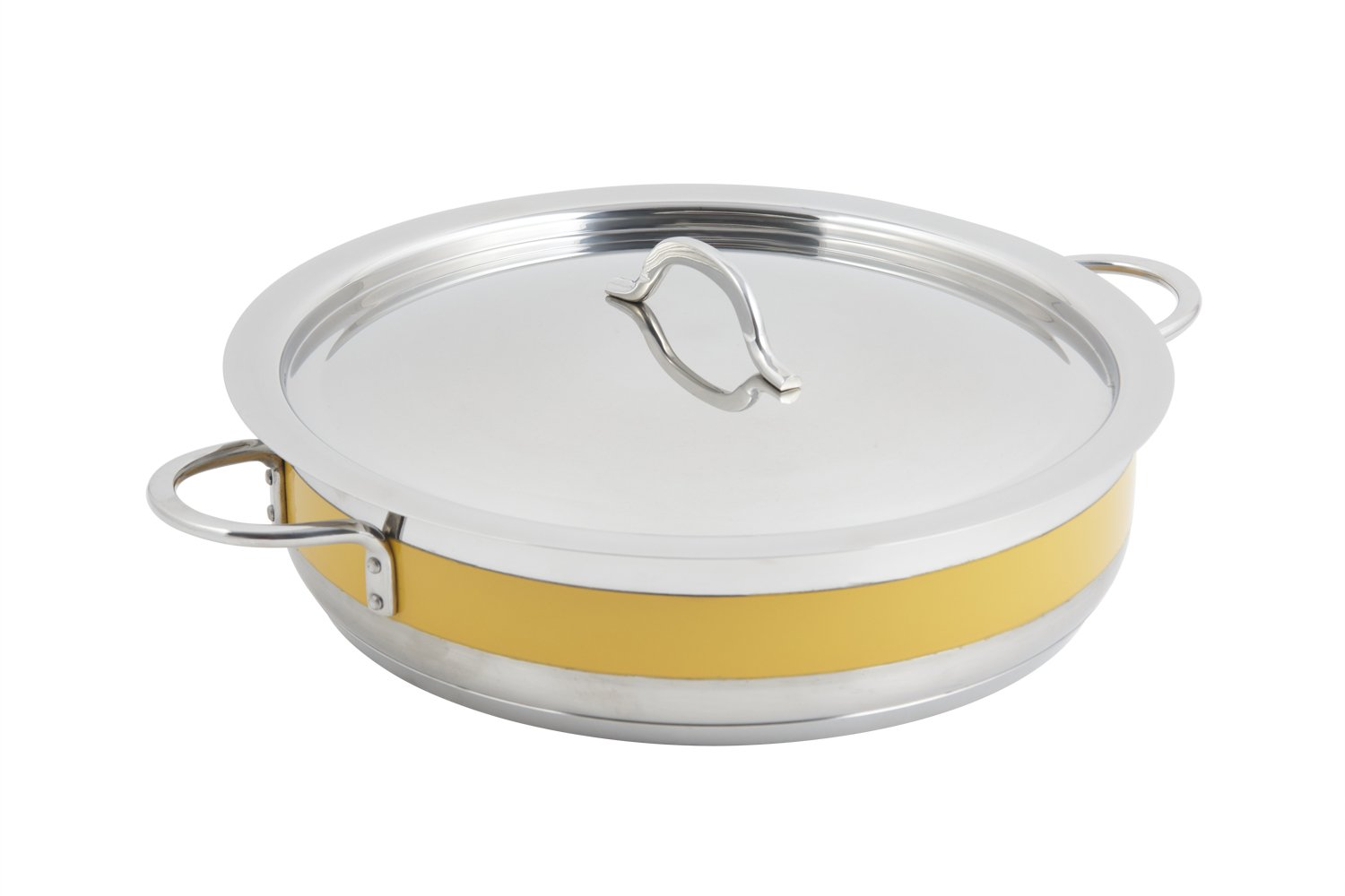 Bon Chef 60030CFYellow Stainless Steel Induction Bottom Classic Country French Pot with Cover, 6 quart Capacity, 12-3/8'' Diameter x 3'' Height, Yellow