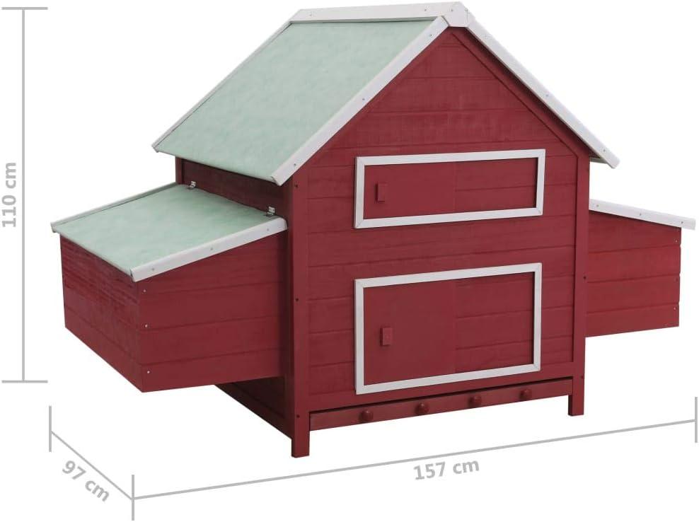 Goliraya Chicken Coop Chicken Nesting Boxes Chicken Laying Nest Brown 157x97x110 cm Wood