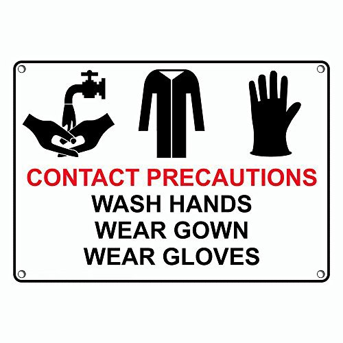 Weatherproof Plastic Contact Precautions Wash Hands Wear Gown Wear Gloves Sign with English Text and Symbol
