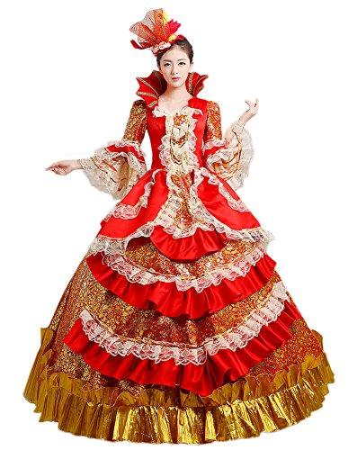 Zukzi Women's Prom Gothic Victorian Fancy Palace Masquerade Dresses, H1503 Headwear US (Marie Antoinette Dress)