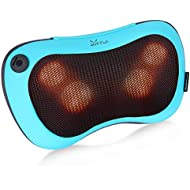 Back Shoulder and Neck Shiatsu Massager with Heat, Kneading Massage Pillow Gift for Mom, Dad, Electric Full Body Massagers to Relieve Lower Back, Legs Aches(Blue)