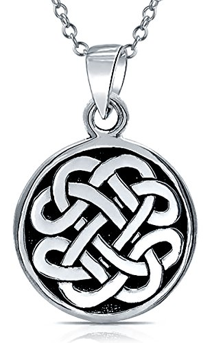Celtic Knot Irish Friendship Round Circle Medallion Shield Pendant Necklace For Women For Men 925 Sterling Silver 18 In