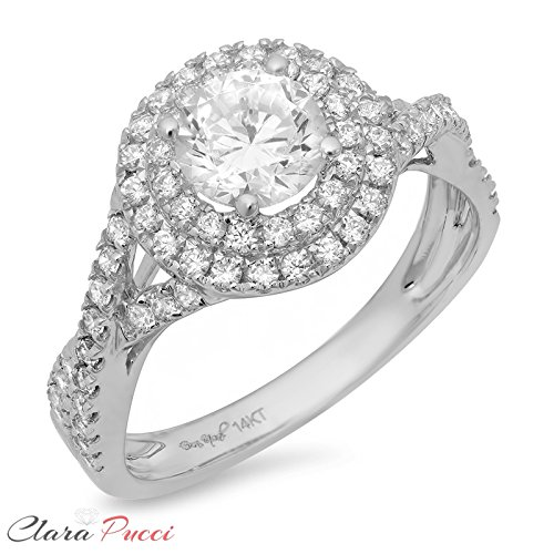 Clara Pucci 1.3 CT Round Cut Pave Halo Promide Bridal Engagement Ring Band 14k White Gold, Size 7 by Clara Pucci (Image #4)