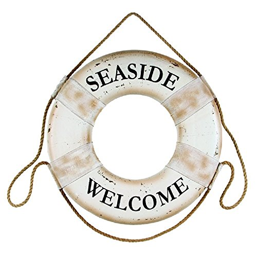 Life Preserver Hanging - Seaside Welcome White 17.5 Inch Foam Hanging Boat Life Ring Wall Plaque