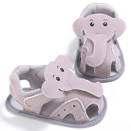 Sandalias De Bebe,BOBORA Prewalker Zapatos Primeros Pasos Para Bebe Lindo Pequeno Elefante Hueco Sandalias De Ocio Para Bebes caqui