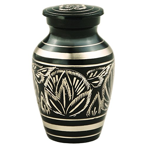 - MEILINXU Funeral Keepsake Urn Brass Mini Cremation Urn for Human Ashes Adult- Hand Engraved - Fits a Small Amount of Cremated Remains- Display Burial Urn at Home or Office (Majestic Radiance Baby
