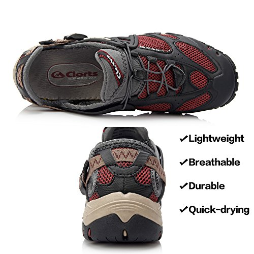 Clorts Women & Mens Quick Drying Sport Hiking Water Shoe Amphibious Athletic Sneaker WT0524 Red ZC4h8L