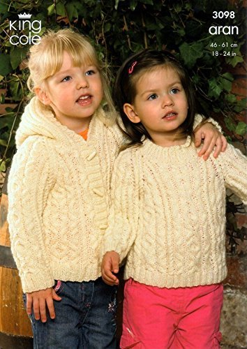 King Cole Childrens Sweater, Coat & Hooded Jacket Fashion Knitting Pattern 3098 Aran by King Cole by King Cole