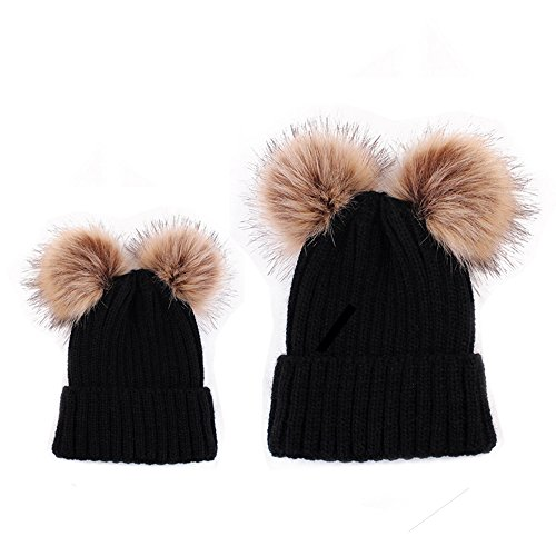 Rumfo 2PCS Parent-child Hat Winter Warmer, Mother Kid Baby Double Pompon Ball Child Woman Hats Keep Warm Winter Knit Beanie Mom Baby Hats Crochet Cap Family Matching (Bun Warmer Shelf)
