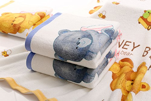 ANswet 2 Bath Towels Cotton Printing Soft Cotton Like Bath Towel Sets Washcloths Super Water Absorbent Soft Honey Bear 2Pieces 27.5X55 inches Bath Towel (Blue) by ANswet