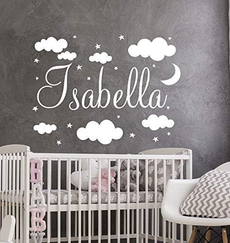 DesignQualityService | Buenas noches Cielo Luna Estrellas Nubes Nombre etiqueta de la pared | Etiqueta engomada de la aduana del cuarto de niños del bebé L4 (50 cm x 67 cm): Amazon.es: