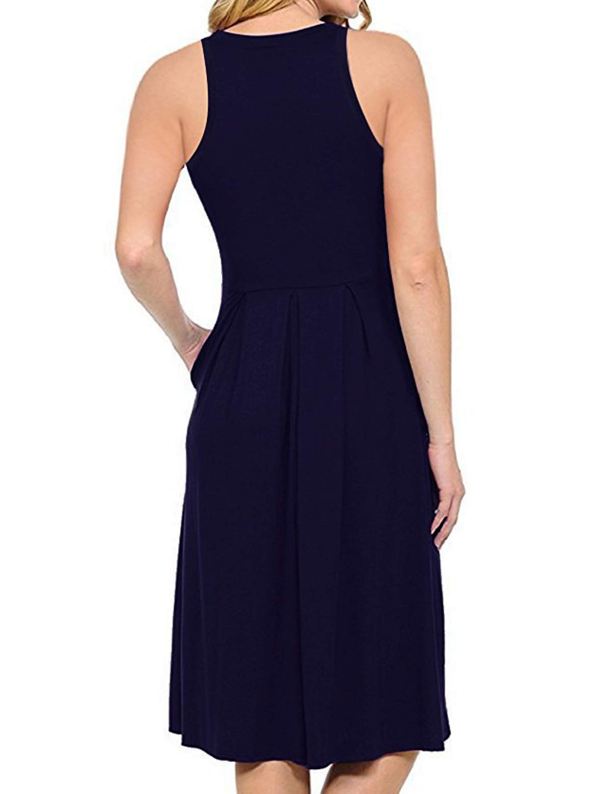 HUALAIMEI Modest Dresses for Women, Ladies Scoop Neck Sleeveless Casual Midi Dress Knee Length Summer Tanks Long Tunic with Pockets Navy Blue L