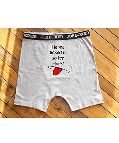 (Valentines Gift for Him, Funny Men Boxer Brief, I licked it so it's mine)