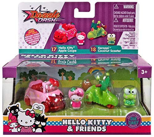 Hello Kitty Dazzle Dash Friends Apple Coupe & Keroppi Scooter