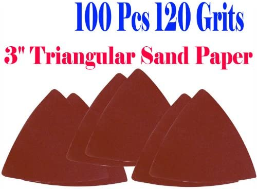 100 Pack: 120 Grit MultiTool Triangular Sanding Sheets Bosch Craftsman+ Fein