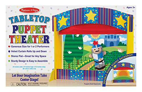 (Melissa & Doug Tabletop Puppet Theater - Sturdy Wooden Construction)