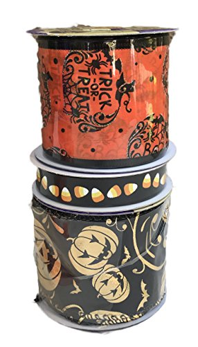 Trick or Treat Pumpkins Candy Corn and Gold Jack-o-lanterns Bundle of Three Halloween Themed Ribbons (Jack O Lantern Halloween Makeup)