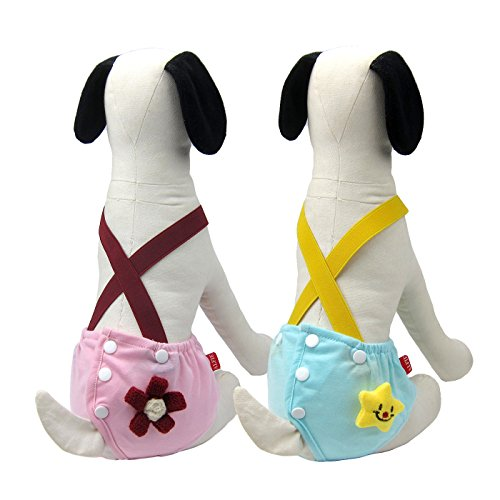 Alfie Pet - Helia Diaper Dog Sanitary Pantie with Suspender 2-Piece Set - Size: XL (for Girl Dogs)