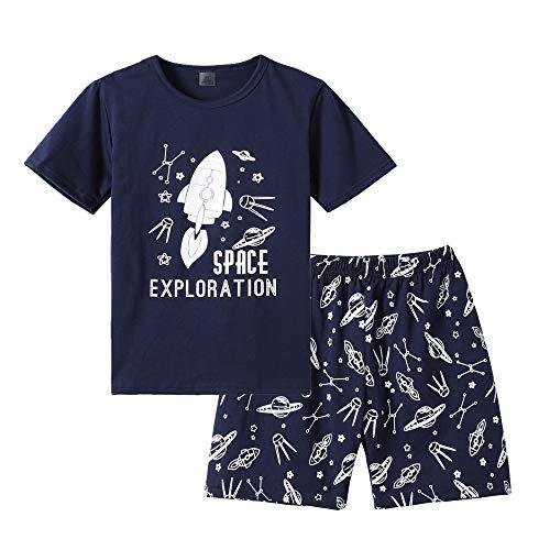 MyFav Big Boys Pajamas 2 Piece Short PJS Cute Cartoon Shark Sleepwear 6-14 - Piece Pjs Boys 2