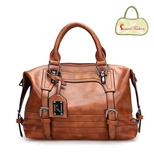Boston Satchel - Sunwel Fashion Vintage Women Tote Bags PU Leather Handbags Top Handle Purse Crossbody Shoulder Bag (Brown)