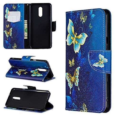 Cfrau Wallet Case with Black Stylus for LG Stylo 5,Slim Colorful Print Magnetic Flip Soft Silicone Card Slots Stand Full Body PU Leather Case for LG Stylo 5,Gold Blue Butterfly