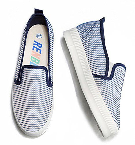 Aisun Womens Breathable Hollow Out Mesh Shoes Sneakers Blue 63vnk