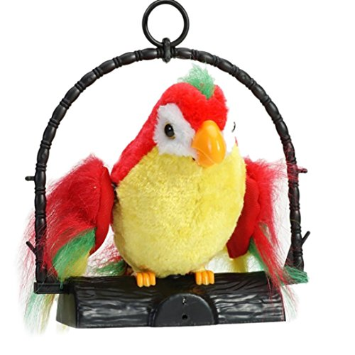 kaifongfu Toy,Electric Talking Speaking Parrot Waving Wings Funny Toy Talking Parrot Imitates & Repeats What You Say Gift (Red or ()