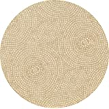 Fitted Tablecloth Fits 49 to 60 Round Tables (Beige Mosaic)