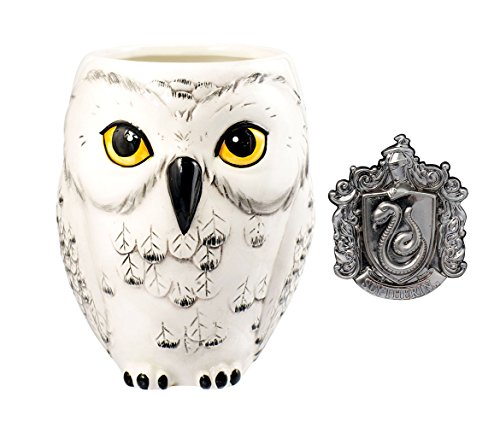 (Mozlly Value Pack - Harry Potter Hedwig Owl Shaped Ceramic Coffee Mug and Slytherin Crest Pewter Lapel Pin (2 Items))