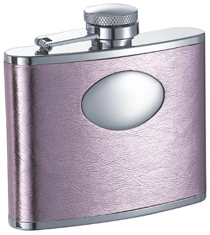 Visol Sweetheart Soft Pink Leatherette Stainless Steel 4oz Hip Flask VF1102