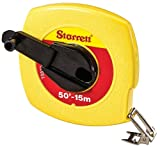 Starrett KTS510-50ME-N ABS Plastic Yellow Case Closed Reel Steel Long Tape, English/Metric Graduation Style, 50' (15m) Length, 0.375'' (15mm) Width, 0.125'' Graduation Interval