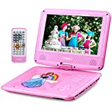 UEME 9 Portable DVD Player with Car Headrest Mount Holder | Swivel Screen | Remote Control | Rechargeable Battery | SD Card Slot and USB Port, Personal DVD Player PD-0093 (Pink)