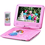 UEME 9'' Portable DVD Player with Car Headrest Mount Holder | Swivel Screen | Remote Control | Rechargeable Battery | SD Card Slot and USB Port, Personal DVD Player PD-0093 (Pink)