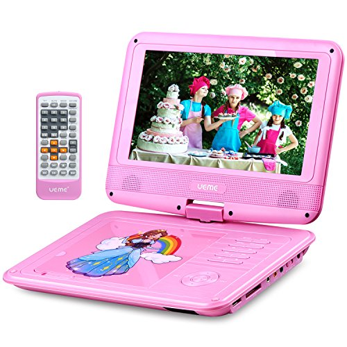 UEME 9″ Portable DVD Player for Kids with Swivel Screen | Remote Control | Rechargeable Battery | SD Card Slot and USB Port | Car Headrest Mount Holder, Personal DVD Player PD-0093 (Pink)