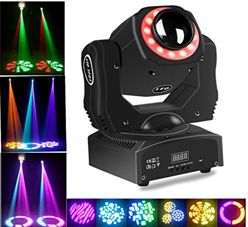 Stage Lighting Led Moving Head Spot Light 85W RGBW Kaleidoscope With 15 Gobos Patterns Wash Lights By Sound Activated DMX 512 Control 9/11Ch For Wedding Concert Dj Disco Party Show (1pack)