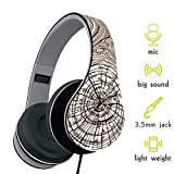 Show Wish Headphones, Headset with Microphone and Volume Control, Lightweight Foldable Headphones for iPhone/smart phones and tablet/pc (Brown)