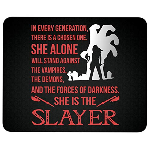 Price comparison product image She Alone Will Stand Against The Vampires Non-Slip Rubber Base Mousepad for Laptop, Computer & PC, She is The Slayer The Vampire Slayer Mouse Pad(Mouse Pad - Black)