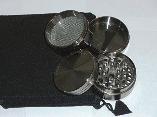 SMART CRUSHER Cnc Aluminum 4pcs Herb Spice grinder with scraper & grinder pouch