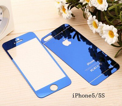 Blingy's® Premium Tempered Glass Mirror Style Screen Protector with Metallic Casing for Apple iPhone 5 and 5S (Blue)