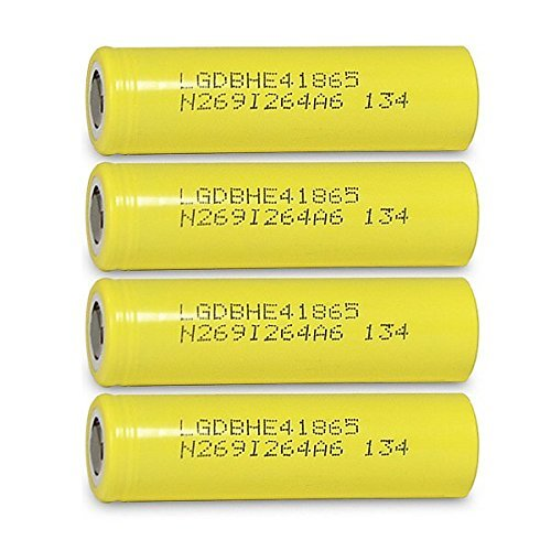 4 LG HE4 18650 2500mAh 20A 3.7v Rechargeable Flat Top Batteries