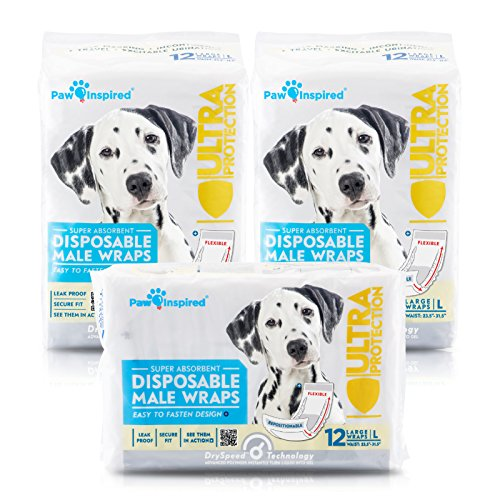 36ct Paw Inspired Ultra Protection Disposable Male Wraps (Belly Bands), Large