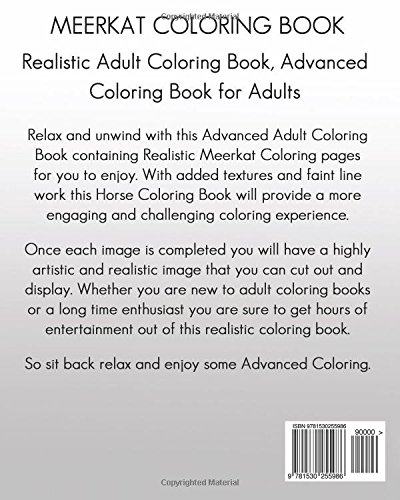 amazoncom meerkat coloring book realistic adult coloring book advanced coloring book for adults 9781530255986 amanda davenport books